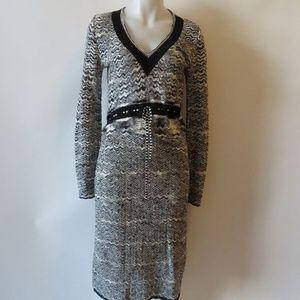 MISSONI BLACK/WHITE MAXI LONG SLEEVE DRESS 10*